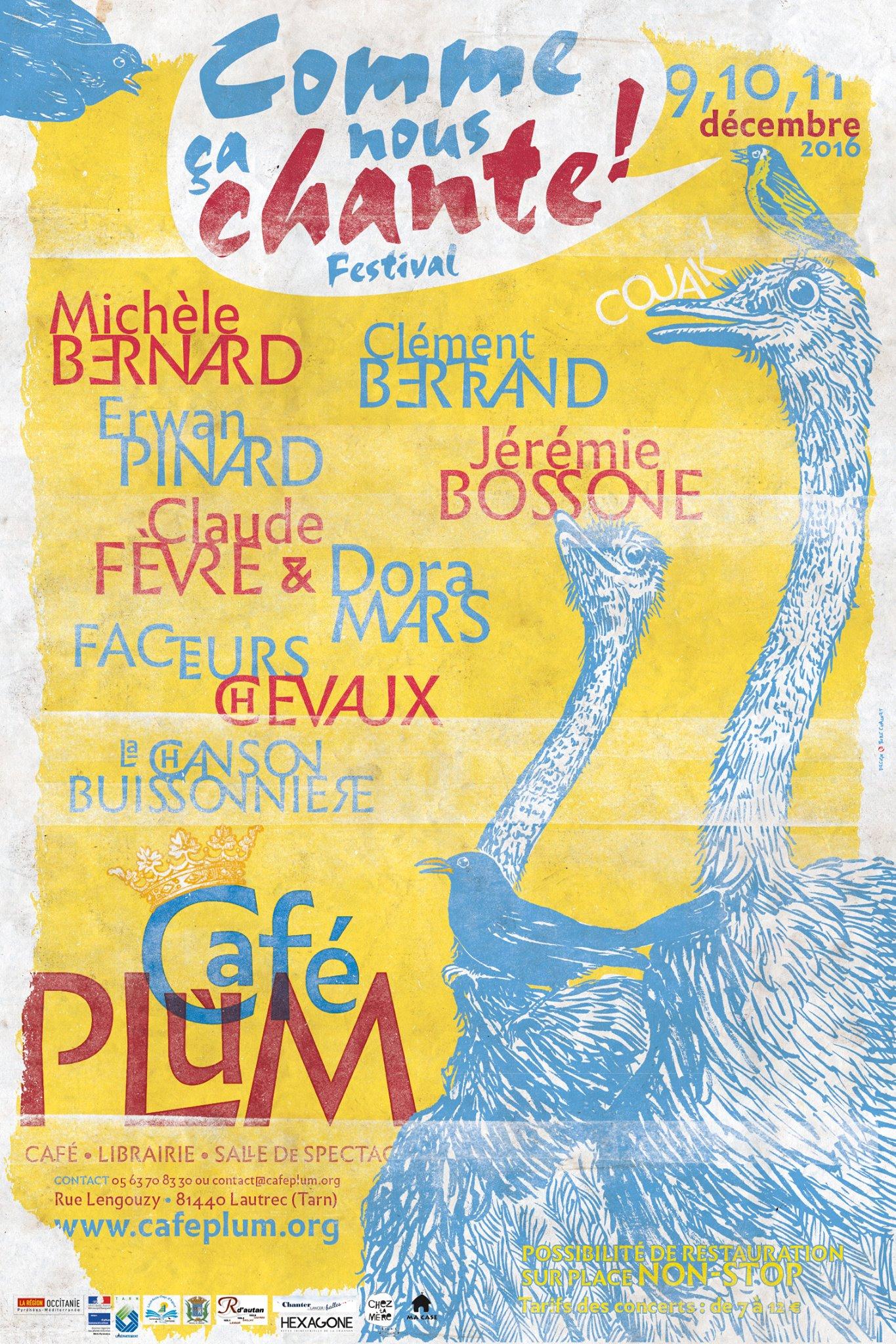 Festival Comme ça nous chante ! au Café Plum (du 9 au 11 décembre 2016)
