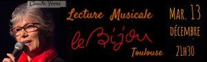 Lecture musicale autour de Barbara (Claude Fèvre & Dora Mars) au Bijou à Toulouse (31) – le 13 décembre 2016 à 21h30