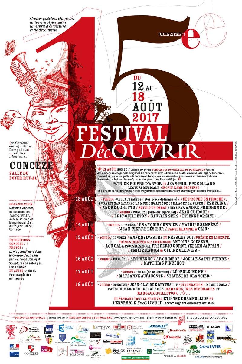 Affiche du 15e Festival DécOUVRIR - Concèze - du 12 au 18 août 2017