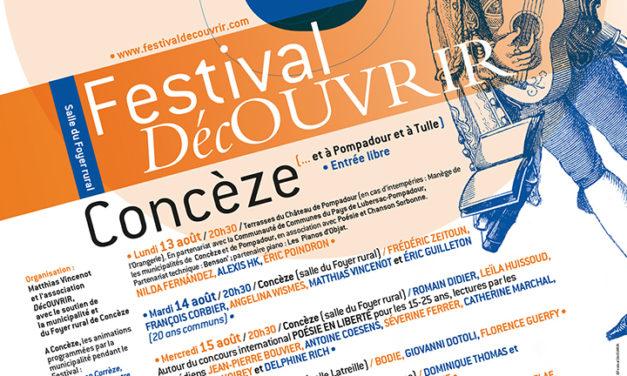 Festival DécOUVRIR, à Concèze (Corrèze) – du 13 au 17 août 2018