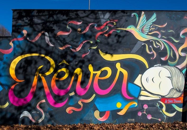 Fresque murale (extrait) –CNRS– rue Jeanne Marving - Toulouse  (© Céline Lajeunie)